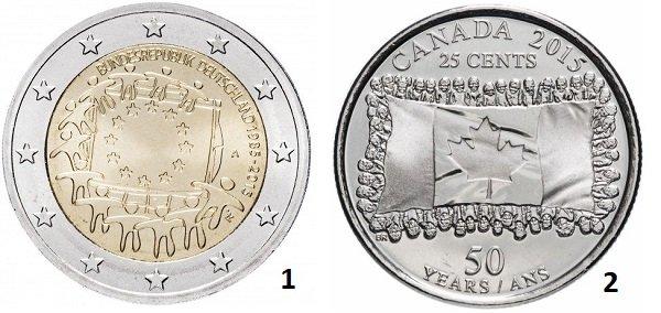 1 - монета 2 евро, посвященная 30-летию флага ЕС. 2015 год. ФРГ; 2 – 25 центов, выпущенные в честь 50-летия государственного флага Канады. 2015 год. Канада