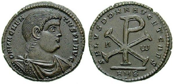 Христограмма на медном центенионалисе императора Магненция (350-353 гг.)