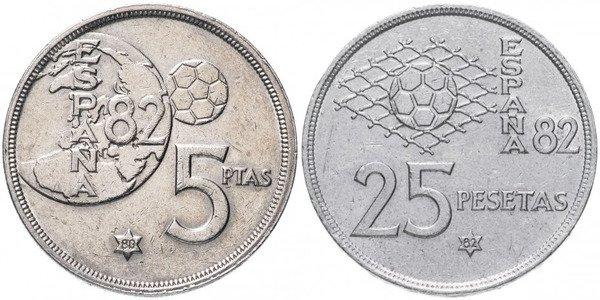 Футбольные мотивы на монетах 5 и 25 песет