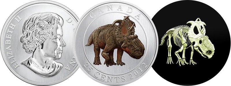 25 центов Канады 2012 года при свете и в темноте