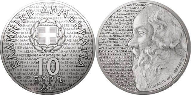 """10 евро Греции 2012 года """"Сократ"""""""
