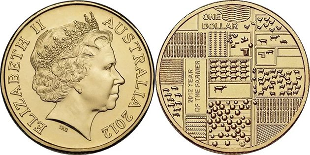 """1 доллар Австралии 2012 года """"Год фермера"""""""