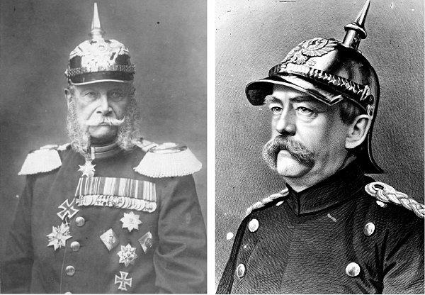 Вильгельм I Гогенцоллерн (слева) и Отто фон Бисмарк