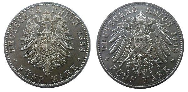 Малый (слева) и большой орел на реверсах германских марок