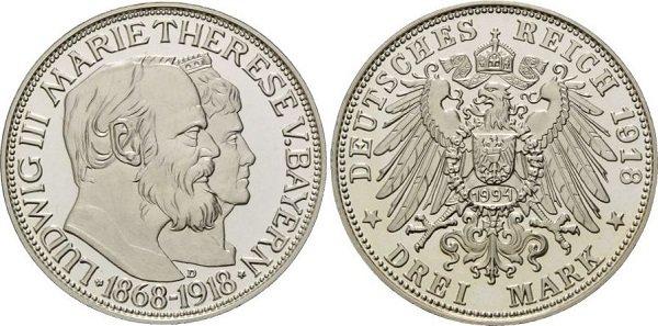 3 марки. Бавария. Людвиг III. 1918 год. Копия 1994 года