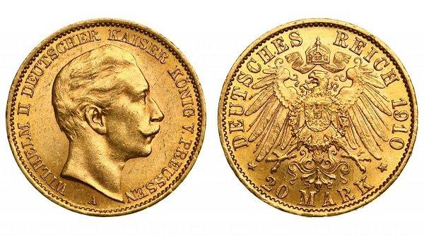 20 марок. 1910 год. Берлинский монетный двор. Золото