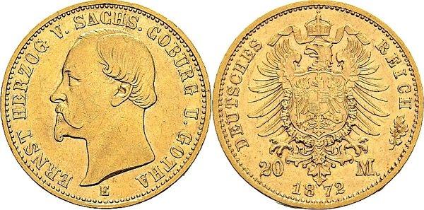 20 марок. Герцог Эрнст Саксен-Кобург и Гота. 1872 год