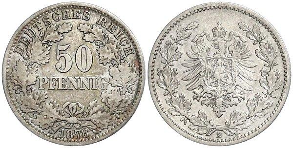 50 пфеннигов. Выпускались в 1875-1903 гг.