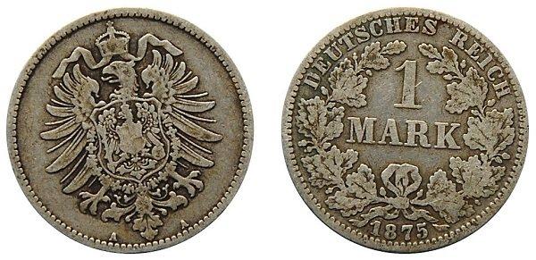 1 марка. 1875 год. Берлинский монетный двор