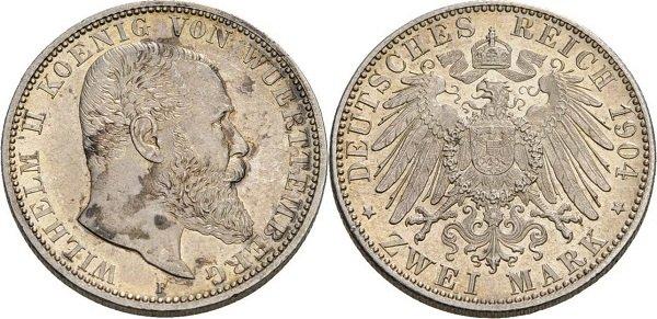 2 марки. Король Вюртемберга Вильгельм II. 1904 г. Монетный двор в Штутгарте