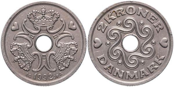 2 кроны, Дания, 1992 год