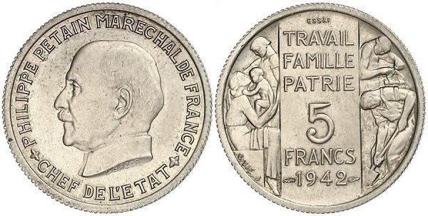 5 франков. Вишистская Франция. Медно-никелевый сплав