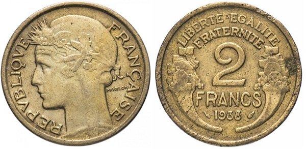 2 франка. 1938 год. Дизайн Пьера-Александра Морлона