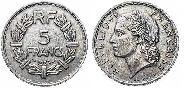 5 франков. 1933-1939 гг. Дизайн Лавриллье. Никель