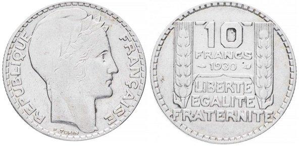 10 франков 1930 года. Серебро 680 пробы, 10 г