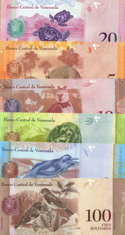Банкноты Венесуэлы образца 2007 года. Реверс