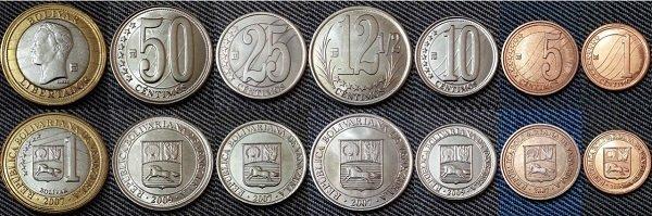 Набор монет Венесуэлы (сентимо и боливар) образца 2007 года