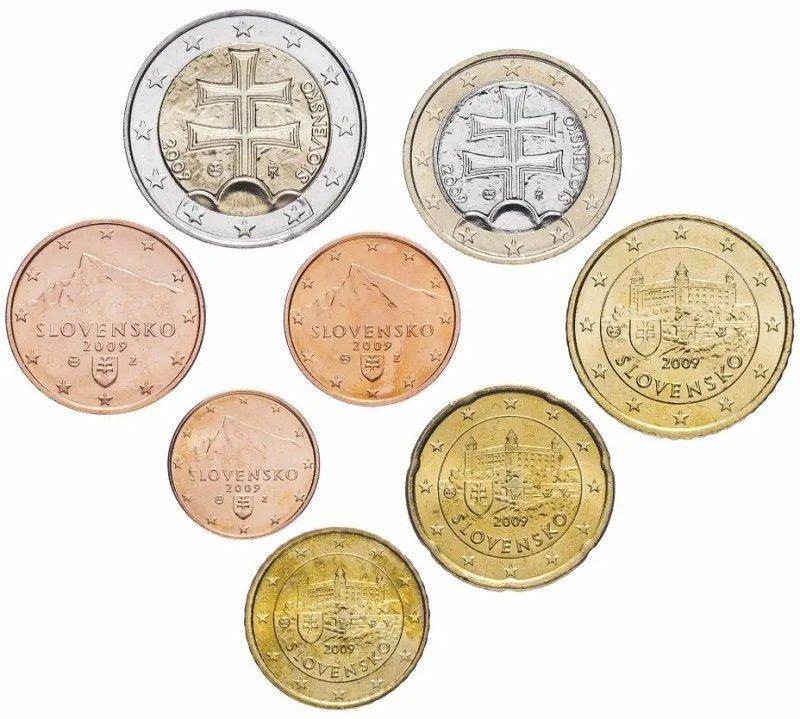 Национальная сторона словацких монет евро