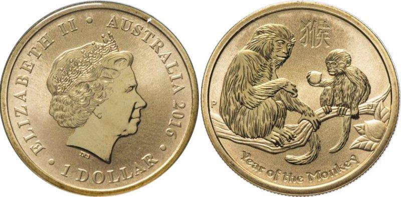 1 доллар Австралии 2016 года