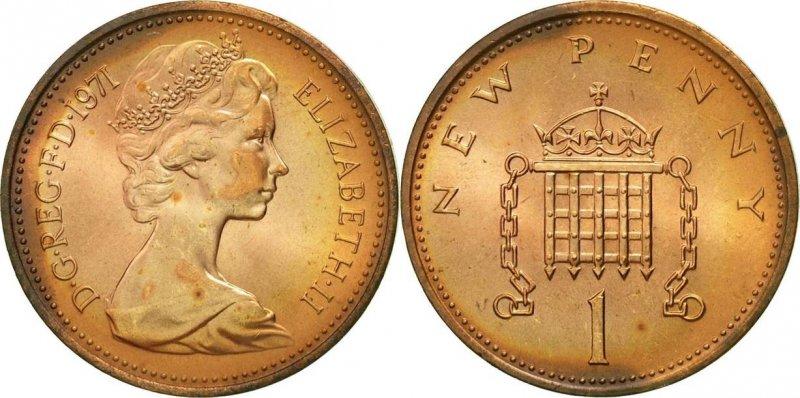 Один новый пенни 1971 года. Вес 3,56 г, диаметр 20.32 миллиметра. Елизавета II. Легенда на аверсе ELIZABETH · II · D · G · REG · F · D · 1971. (Елизавета Вторая, по милости Божией, Королева, Защитница Веры), на реверсе номинала NEW PENNY и латинская цифра I