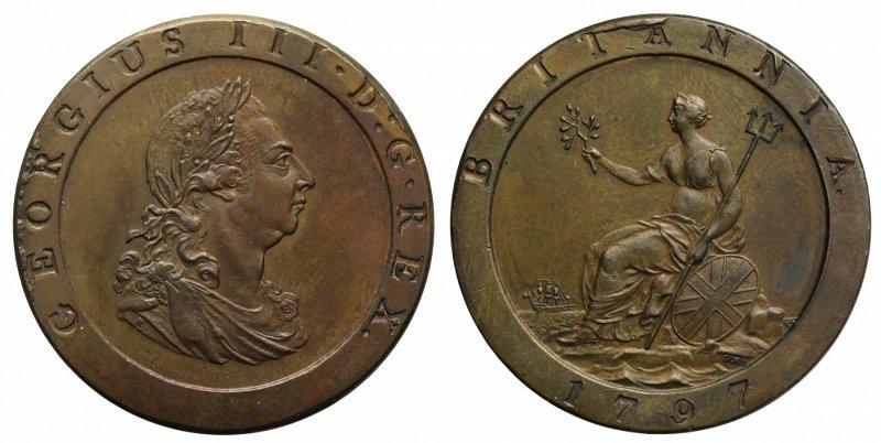 Один пенни 1797 года. На аверсе изображен портрет короля и надпись GEORGIUS III • D : G • REX (Король милостью Божьей), на реверсе аллегорическое изображение Британии, надпись «BRITANNIA» и «1797»