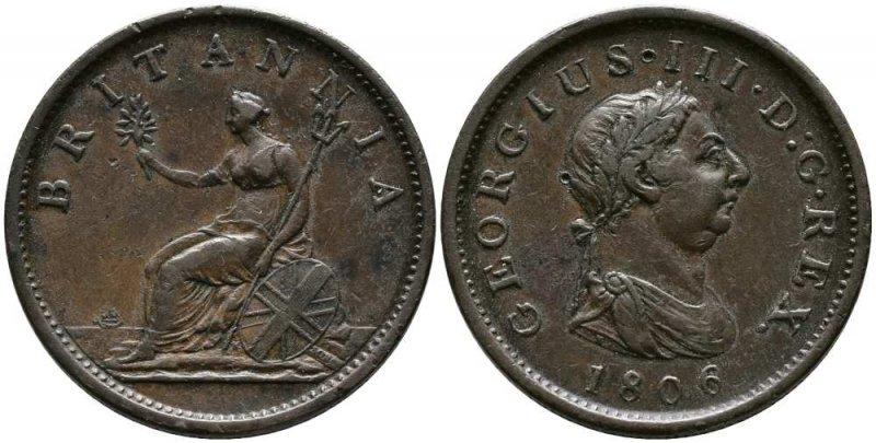 Один пенни 1806 года. Вес 18,9 г (2⁄3 унции), диаметр 34 миллиметра. Георг III