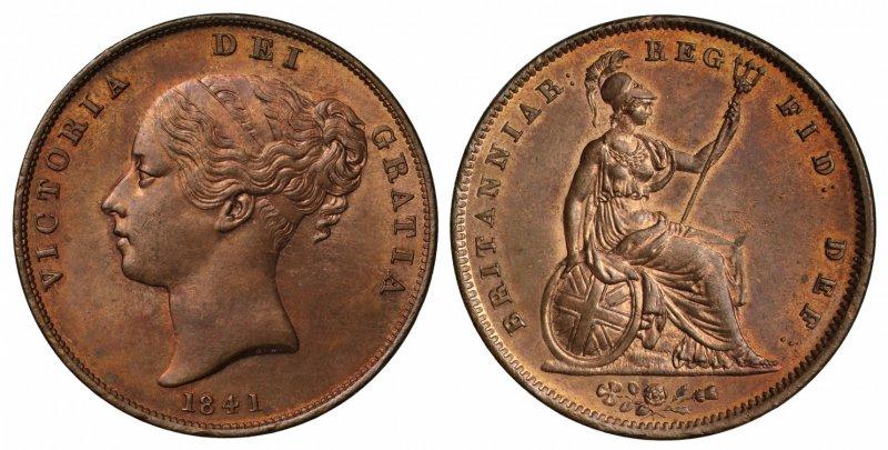Один пенни 1841 года. Вес 18,9 г (2⁄3 унции), диаметр 34 миллиметра. Королева Виктория. Легенда на аверсе VICTORIA DEI GRATIA (Виктория Божьей Милостью), на реверсе BRITANNIAR: REG: FID: DEF (Королева Британии Защитница Веры)