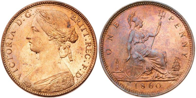 Один пенни 1860 года. Вес 9,4 г, диаметр 30,8 миллиметра. Королева Виктория. Легенда на аверсе VICTORIA D: G: BRITT: REG: F: D: (Виктория Божьей Милостью Королева Британии Защитница Веры), на реверсе появилось обозначение номинала ONE PENNY