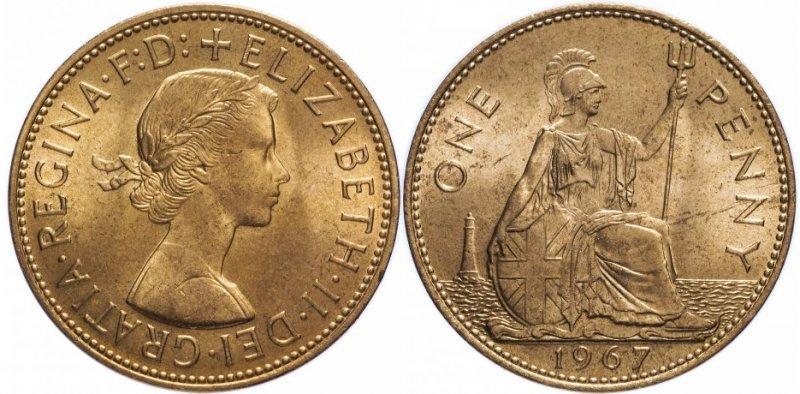 Один пенни 1967 года. Вес 9,29 г, диаметр 30,8 миллиметра. Елизавета II. Легенда на аверсе DEI GRATIA REGINA F: D: ELIZABETH II (Божьей Милостью Королева Защитница Веры Елизавета II), на реверсе номинала ONE PENNY