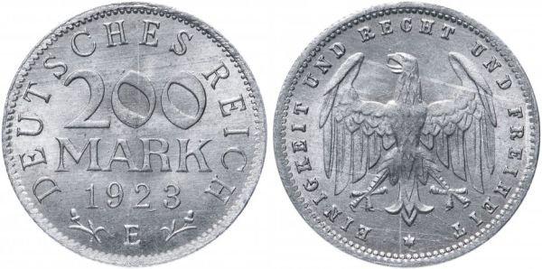 Алюминиевая монета 200 марок, Германия, 1923 год