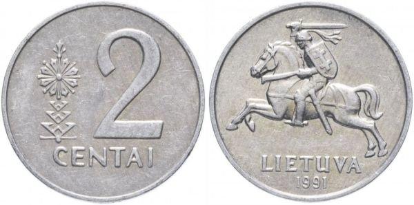 Алюминиевая монета 2 цента, Литва, 1991 год