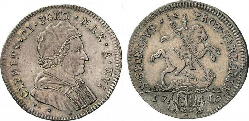 Серебряный тестон Папы Климента XI (1716)