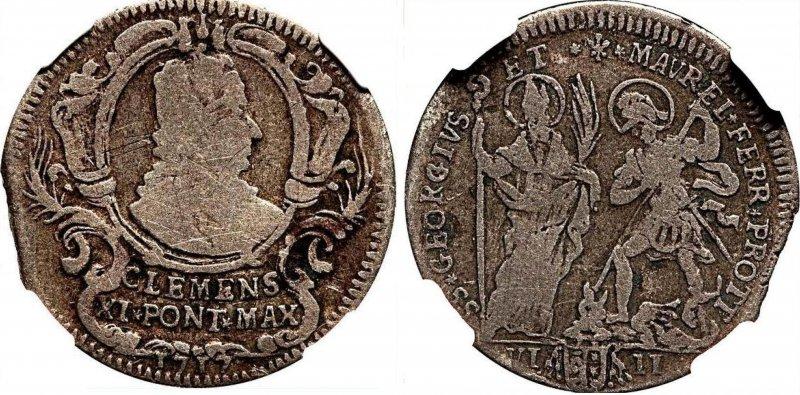 Монета в 8 байокко Папы Климента XI (1717)