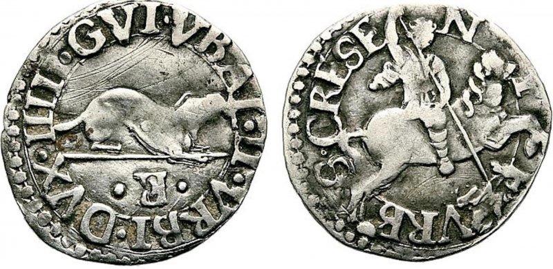 Монета армеллино Гвидобальдо II делла Ровере, герцога Урбино (XVI век)