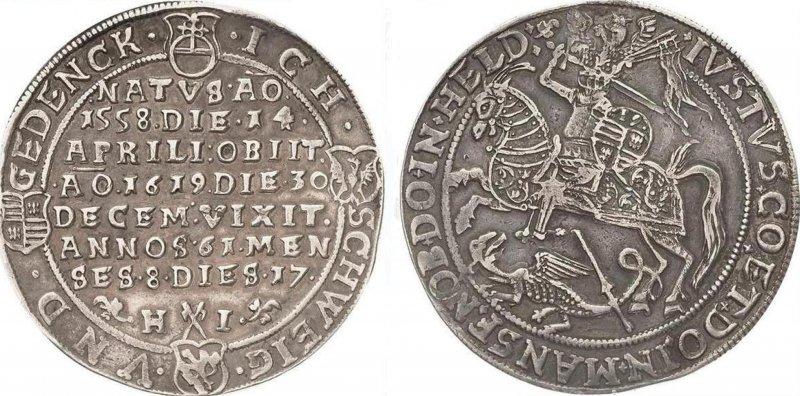 Серебряный талер, посвященный смерти графа Йобста II фон Мансфельд-Айслебена (1619)