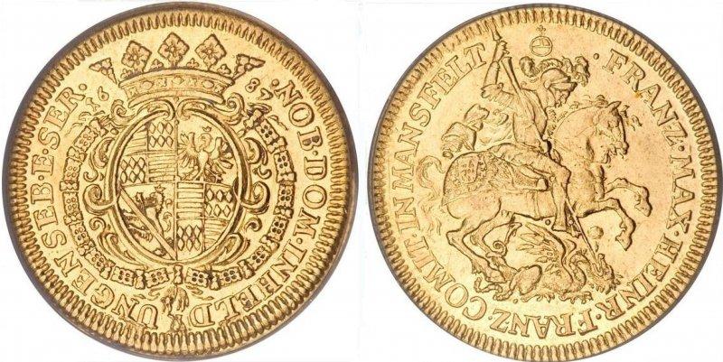 Золотой дукат графа Франца Максимилиана Мансфельд-Борнштедтского (1687)
