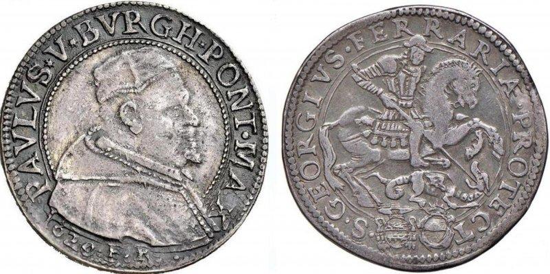 Серебряный тестон Папы Павла V (1620)