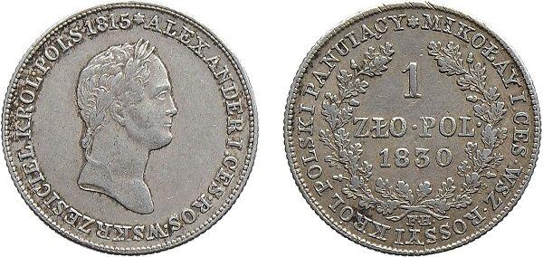 1 злотый. 1830 год. Серебро. 4,54 г. Варшавский монетный двор