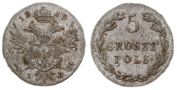 5 грошей. 1819 год. Биллон. Варшавский монетный двор