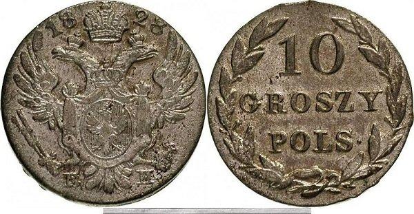 10 грошей. 1828 год. Биллон. Варшавский монетный двор