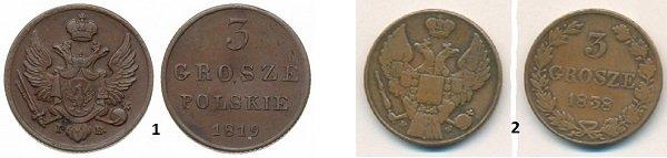1 - 3 гроша польских 1819 года, 2 – 3 гроша 1838 года, дизайн разработан после подавления восстания 1830-1831 гг.(с монеты исчез герб Царства Польского и слово «POLSKICH»)
