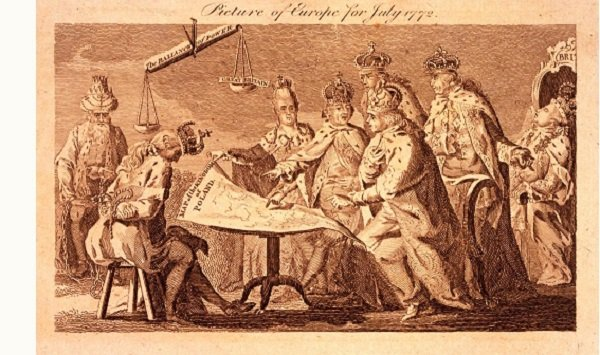 Карикатура на раздел Речи Посполитой. Сидящая коронованная фигура со связанными за спиной руками – польский король Станислав Понятовский