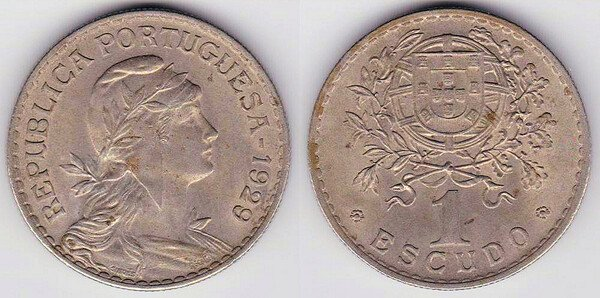 1 эскудо. 1929 года