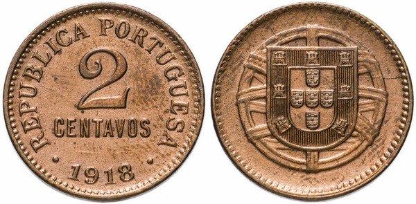 2 сентаво. Бронза. 1918 г.