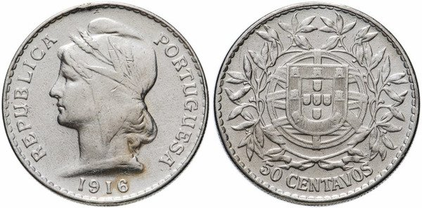 50 сентаво. Серебро. 1916 г.