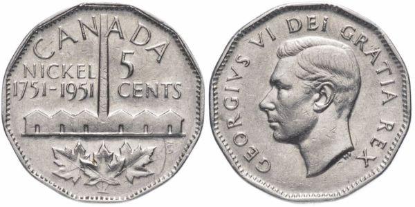 5 центов, Канада, в честь 200-летия производства никеля, 1951 год