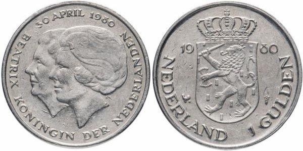 1 гульден, Нидерланды, коронация Беатрикс, 1980 год