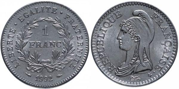 Никелевая монета 1 франк, Франция, в честь 200-летия Первой республики, 1992 год