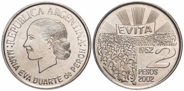 Никелевая монета 2 песо, Аргентина, 50-летие со дня смерти Эвы Перон, 2002 год
