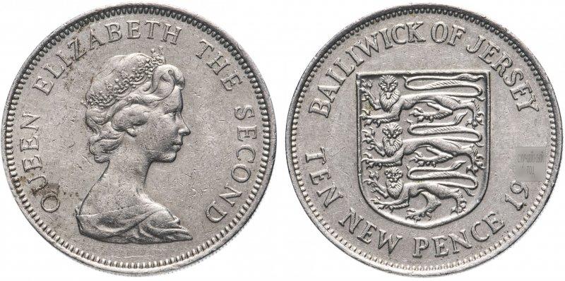 Джерси, 10 новых пенсов (new pence) 1968-1980 гг.